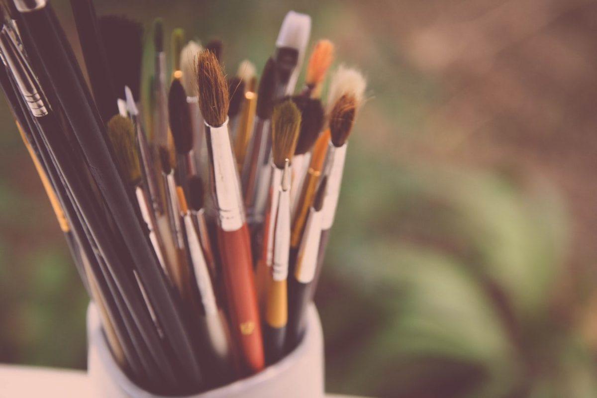 close up of paintbrushes