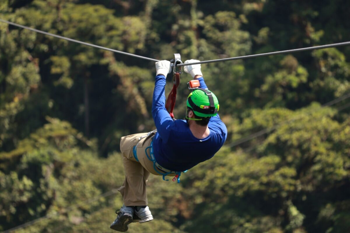 person ziplining